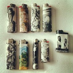 Decoupage lighters.