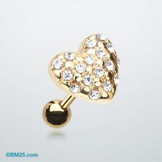 Golden Fluffy Heart Multi-Gem Cartilage Earring