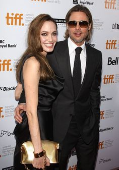 """Angelina Jolie and Brad Pitt at the """"Moneyball"""" premiere at the 36th Annual Toronto International Film Festival held at the The Roy Thomson Hall in Toronto, Canada, on September 9, 2011"""
