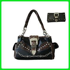 Large Rhinestone Buckle Leather Shoulder Handbag Purse in Black - Shoulder bags (*Amazon Partner-Link)