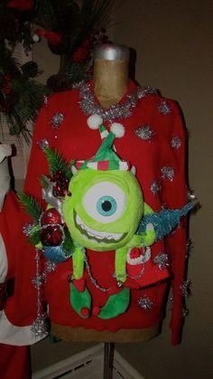 "UGLY CHRISTMAS Sweater MIKE one eye Mike Tree Lights Jingle sz L 50"" chest #UglyChristmas #Ugly"