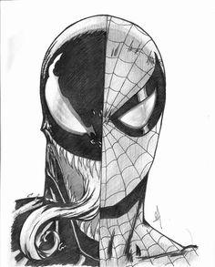 "spider sense is tingling."" - Spiderman / Venom from Marvel Comics. Spiderman Sketches, Spiderman Kunst, Avengers Drawings, Spiderman Drawing, Superhero Sketches, Spiderman Tattoo, Venom Spiderman, Marvel Venom, Batman Comic Art"