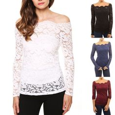 Occident Women's Girl's Fashion Sexy Elegant Long Sleeve Hollow Lace T-Shirt Tops EE0228. 1, The real color of the item may be slightly different from the pictures shown on website caused by many factors such as brightness of your monitor and light brightness. | eBay!