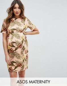 Maternity Smart Dress in Tropical Print
