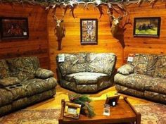 I would like to have this as a loft above a garage, in a building separate from the house or in the corner of a man cave or something. It's cool and very well done, just wouldn't be an everyday living room, at least not for me. Camo Living Rooms, Camo Rooms, Camouflage Bedroom, Living Roon, Country Man Cave, Country Girls, Camo Furniture, Furniture Ideas, Recycled Furniture