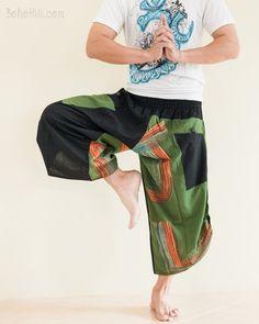 Urban Active Samurai Harem Pants Unisex (Green Rainbow Brush)