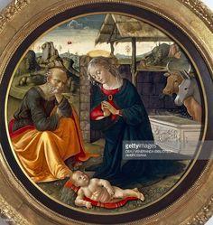 ストックフォト : Adoration of Child from workshop of Domenico Ghirlandaio, tempera on panel, 1475-1490