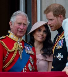 Prince Charles Prince of Wales with Prince Harry Duke of Sussex and Meghan Duchess of Sussex during Trooping The Colour 2018 on June 9 2018 in London...