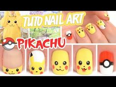 Nail art Pikachu ♡ Pokémon - YouTube