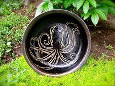 Hey, I found this really awesome Etsy listing at https://www.etsy.com/listing/151427685/pottery-bowl-baker-octopus-squid-gold