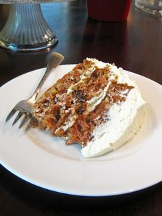 Carrot Cake with Whipped Cream Cream Cheese Frosting - A Hint of Honey