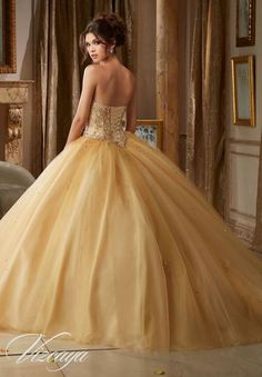Gemstone Beading on a Tulle Ball Gown #89109 - Quinceanera Mall #quinceaneramall #quinceañera #sweetsixteen #quincedresses