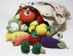 Crochet play food set 20 pcs Crochet vegetables by Crochetpumpkin