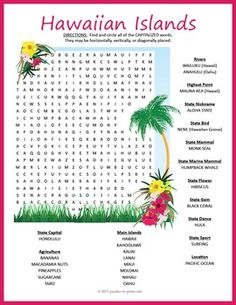 Delve into the splendors of the state with this super fun Hawaiian Islands word search puzzle. We've included a lot of information about Hawaii and organized the words, so students will be learning as they search. Hawaii Games, Hawaii Activities, Activities For Kids, Luau Party Games, Hawaiian Theme, Hawaiian Luau, Hawaiian Islands, Hawaiian Parties, Hawaii Crafts