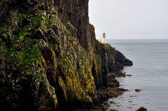 Neist Point, Isle of Skye, Scotland, lighthouse, sea, rocks, maritime, landscape, aquatic, grey, green by PicClick on Etsy