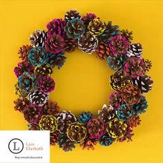 DIY Colorful Pine Cone Fall Wreath - Sarah Hearts : Add color to your fall and holiday decor by making this paint dipped pine cone wreath! Learn how to make a colorful pine cone fall wreath that is perfect for both Thanksgiving and Christmas. Fall Crafts, Holiday Crafts, Arts And Crafts, Wreath Crafts, Diy Wreath, Decor Crafts, Diy Crafts, Wreath Making, Fabric Crafts