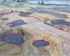 Pools in the Rocks is a painting created by Doris Jean McCarthy in Find out more at Mayberry Fine Art. Canadian Painters, Canadian Artists, Urban Landscape, Abstract Landscape, Paper Wall Art, Art And Craft Design, Paintings I Love, Inspirational Wall Art, Cool Landscapes