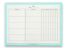 Printable Checklist For Typical Housework Chores  ThereS Also A