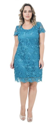 Vestido de festa curto de cetim com renda guipir manga curta Vestidos Plus Size, Plus Size Dresses, Plus Size Outfits, Cute Dresses, Beautiful Dresses, Casual Dresses, Fashion Dresses, Mom Dress, Lace Dress