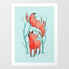 Winter Fox Art Print by Freeminds - $18.72