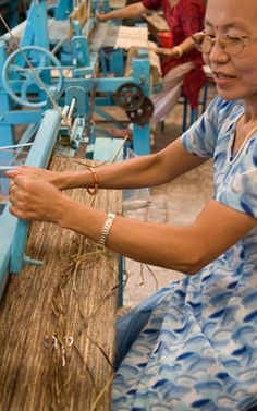 Banana fiber weavers create yarn through a process of gather wild plants, drying and softening the salks and spinning the material by hand.   Social Responsibility   3form colorbyamber.com #fullcircle #organicjewelry #ecoresin