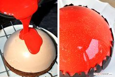 glacage miroir 75g d'eau 11g de gélatine 150g de sucre 150g de glucose 150g de chocolat blanc ivoire 100g de lait concentré sucré Du colorant gel rouge (la pointe du couteau) Faire ramollir les feuilles de gélatine dans un bol d'eau froide pendant 5 minutes. Dans une casserole porter à ébullition l'eau, le sucr