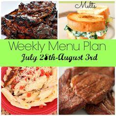 Weekly Menu Plan July 28th-August 3rd