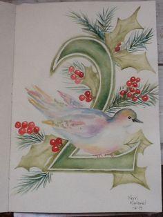 Turtle Doves 12 Days of Christmas Kerri Kimbriel. Watercolor