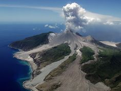 Monserrat island in the lesser antilies Caribbean. Soufriere Hills erupted 75 times in a single month in 1997 and is still one of the most active volcanoes in the world