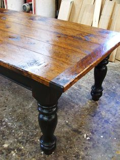 Farm table. Link is to a site to buy it, but I'm pinning this for reference on how to re-do my current table.