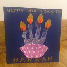 Hand print birthday card.