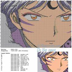 Sesshomaru 3 free cross stitch pattern of Inuyasha 200x133 13 colors
