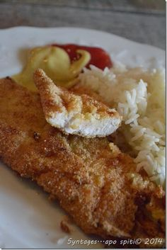 Schnitzel with meal Greek Recipes, My Recipes, Dessert Recipes, Cooking Recipes, Healthy Recipes, Desserts, Recipies, Wiener Schnitzel, Yummy Mummy
