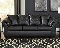 Darcy Sofa | Ashley Furniture HomeStore Ashley Furniture Sofas, Living Room Furniture, Furniture Outlet, Discount Furniture, Furniture Stores, Leather Upholstery Fabric, High End Handbags, Black Sofa, Comfortable Sofa