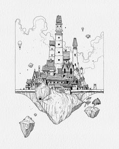 """🎩 A wonderfull glimpse into a vision of a fantasy town by """"A fantasy triptych commission. Cityscape Drawing, City Drawing, Painting & Drawing, Ink Illustrations, Art Drawings Sketches, Poses References, Nature Drawing, Landscape Drawings, Black And White Illustration"""