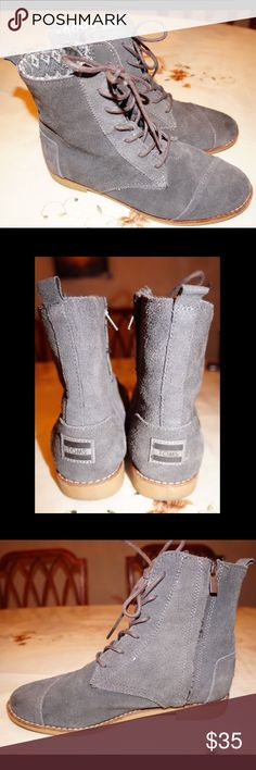 TOMS Grey/ Blue Suede Booties Have been pre loved. In great condition! TOMS Shoes Ankle Boots & Booties