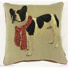 "FRENCHIE FRENCH BULLDOG COTTON TAPESTRY 18"" RED BEIGE CUSHION COVER *RV*"