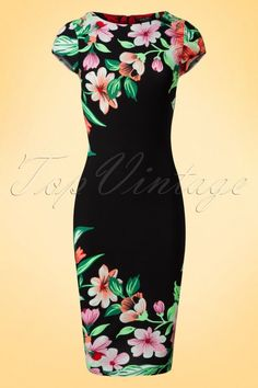Vintage Chic - 60s Aloha Tropical Garden Short Sleeves Pencil Dress in Black