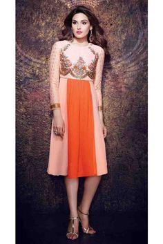 Orange & Peach designer readymade Indian tunic in georgette Lush, Indian Tunic, India Wedding, Desi Wear, Gowns Online, Kurta Designs, Festival Wear, Diwali Festival, Online Dress Shopping