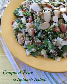 Chopped Pear and Spinach Salad...This chopped salad has all of that going for it and more with bosc pears, sliced almonds, dried cranberries, couscous, feta cheese, cucumbers, tomatoes, baby spinach and romaine tossed together in a honey mustard dressing. Your taste buds will scream happiness.