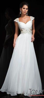 Tony Bowls 2014 Prom Dresses - Ivory Chiffon Cap Sleeve Sweetheart Prom Dress