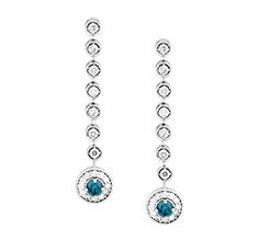Luxurious Long Drop White and Blue Diamond Earrings set in Shiny 14k White Gold.