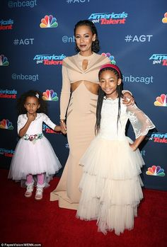 Mel B dresses daughters in heavenly white gowns as she poses with them