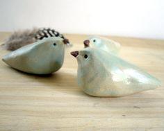 Seafoam Ceramic Stoneware Bird Sculpture Set by StudioByTheForest