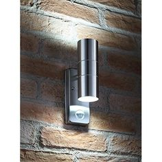 PIR Stainless Steel Double Outdoor Wall Light With Movement Sensor IP44 ZLC08DSEN Up/Down Outdoor Wall Light #outdoorgaragelightingideas Solar Garage Lights, Outdoor Garage Lights, Garage Door Lights, Outdoor Sensor Lights, Front Door Lighting, Garage Lighting, Porch Lighting, Tree Lighting, Solar Lights