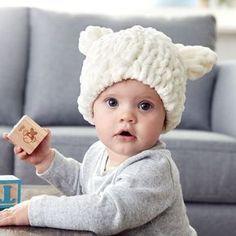 a5242f2116f How To Make A Bernat Alize Blanket EZ Baby Bear Hat Loom Knit Hat
