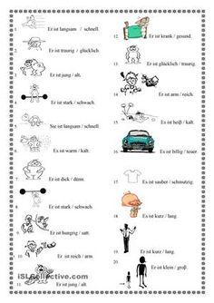 Einfache Adjektive - DAF Arbeitsblätter