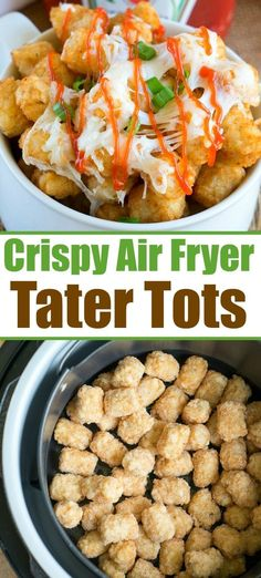 Air fryer tater tots are the bomb! Add cheese to the top and they're a crunchy snack or side dish your family will ask for over and over again for sure. Air fryer tater tots are the bomb! Add cheese to the top and they're a crunchy snack or side dish … Air Fryer Recipes Wings, Air Fryer Recipes Chips, Air Fryer Recipes Appetizers, Air Fryer Recipes Vegetarian, Air Fryer Recipes Low Carb, Air Fryer Recipes Breakfast, Air Frier Recipes, Air Fryer Dinner Recipes, Vegetable Recipes