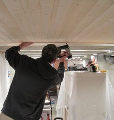 The Stucco Bungalow: Adventures in Tiny Home Improvement: Handy Husband + Pine Planks = Magical Basement Ceiling