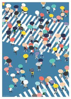Crossing The Street On a Rainy Day - Blue Art Print
